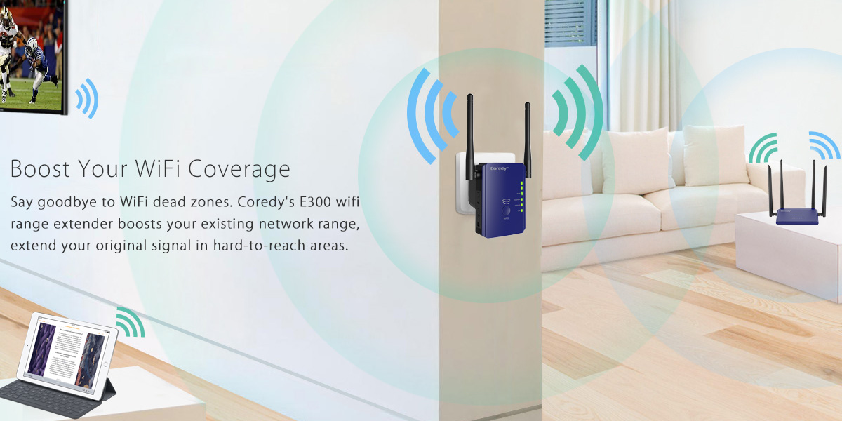 boost N300 wifi network with Coredy E300 wifi range extender